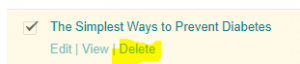 list of edit delete view options
