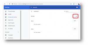 disable java script in browsers