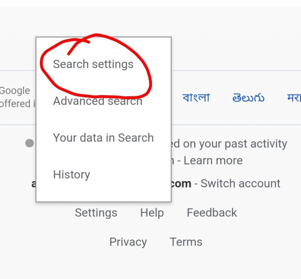 google search settings