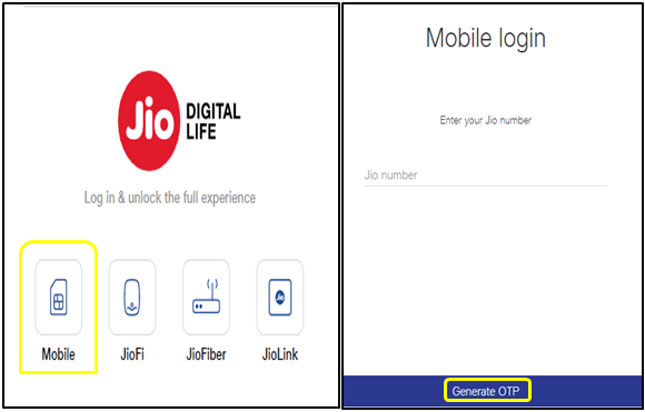 To generate OTP to login your mobile jio account