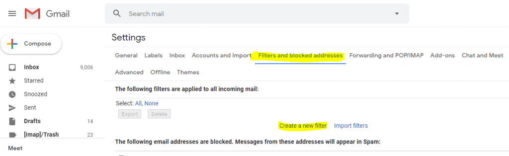 filter and blocked addresses option