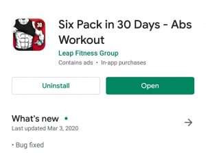 six pack in 30 days application for playstore
