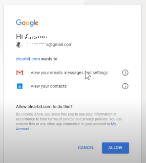 Gmail access permission to use clearbit