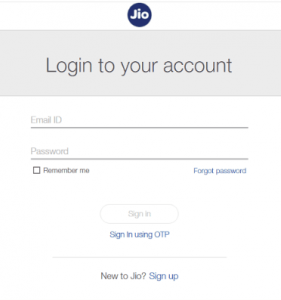 Jio sign In page