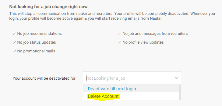 delete deactivate naukri acccount option