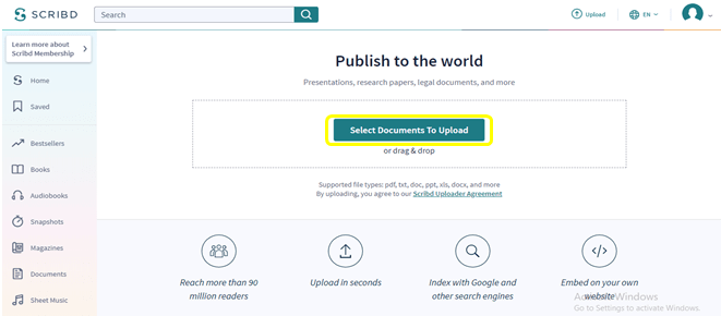 Scribd select the document to upload