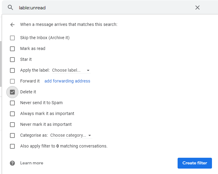 unread emails delete it option