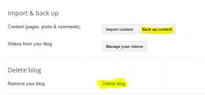 delete blog option