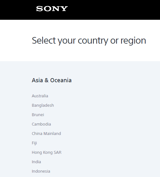 sony support website