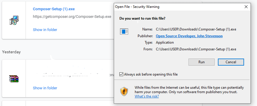 download composer in windows system