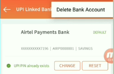 Remove all associated bank account numbers in freecharge