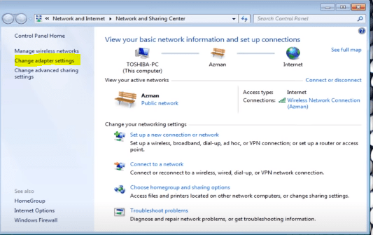 Change adapter settings in windows control panel