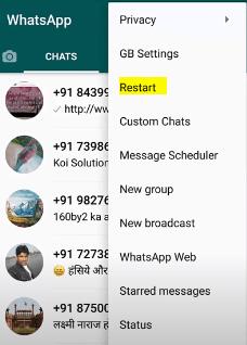 Restart the GBWhatsapp settings