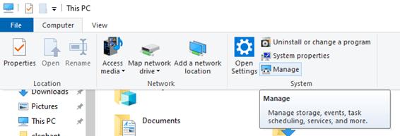 Windows my computer manage option