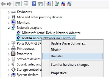 Uninstall the network connections