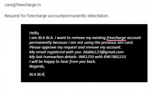 Freecharge delete request email