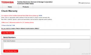 toshiba warranty check web page