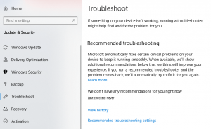windows update and security troubleshoot the system updates