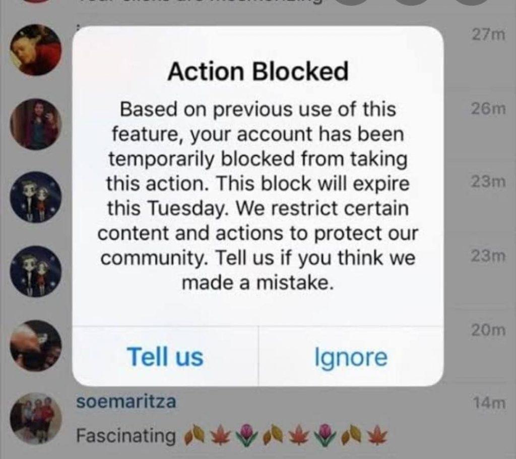 action blocked Instagram error message