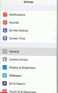 General settings option in IOS device