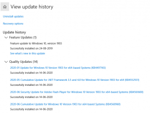 View update and history logs for windows systems
