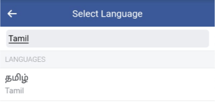 Facebook language preference changed to tamil