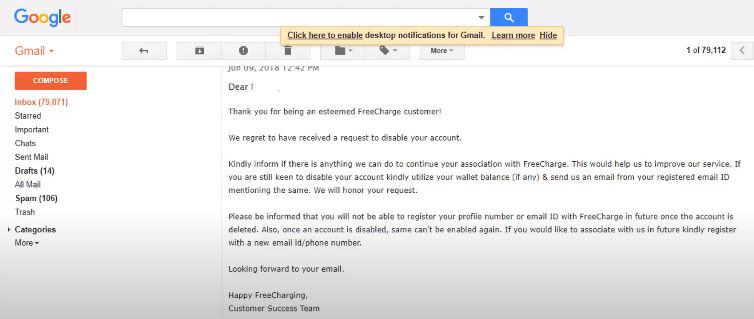 Freecharge delete account confirmation on email