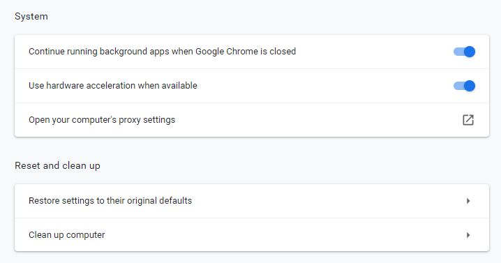 Chrome reset settings underneath reset and clean up menu