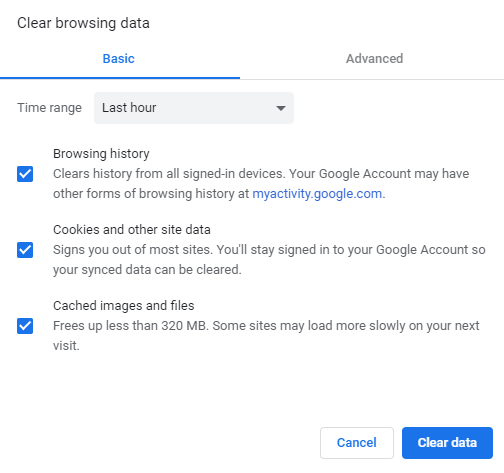 Clear all browsing data or clear data within selected range
