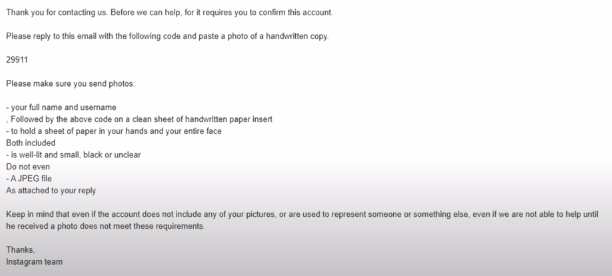 Instagram acknowledge email