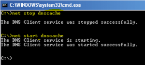 Perform Net start stop dns cache commands in command prompt