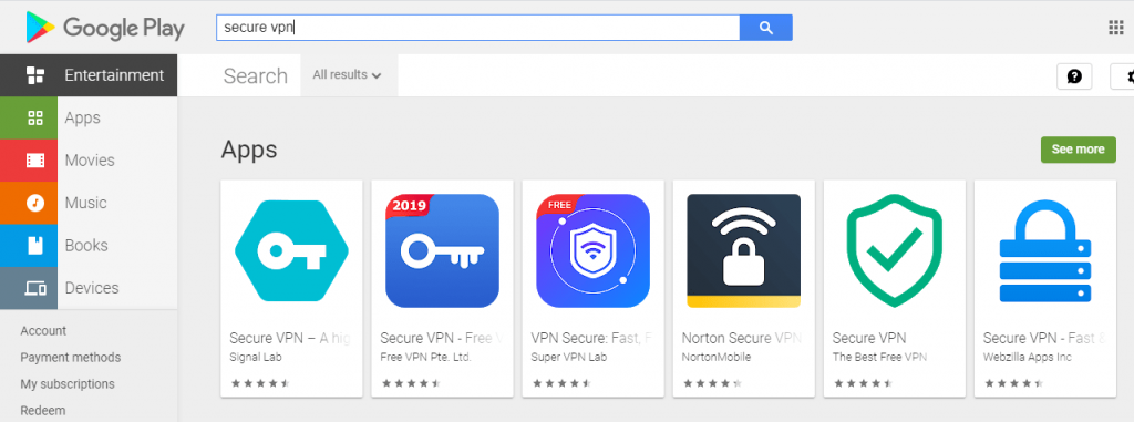 Secure VPN applications search for google play store