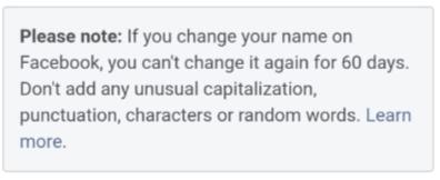 Facebook name change warning message