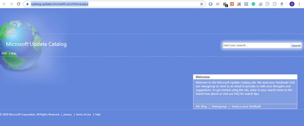 windows update catalog web page