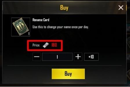 Purchasing the rename card from PUBG mobile