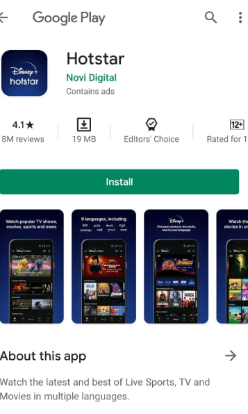 Hotstar application download in android phone device