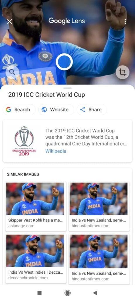 search virat kohli images similar in gogole search using google lens