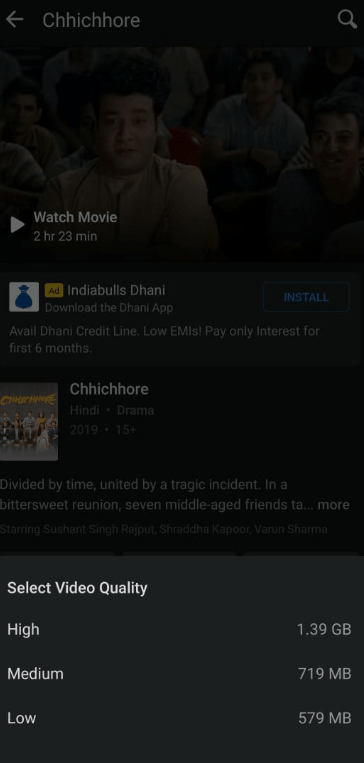 select the download video resolution