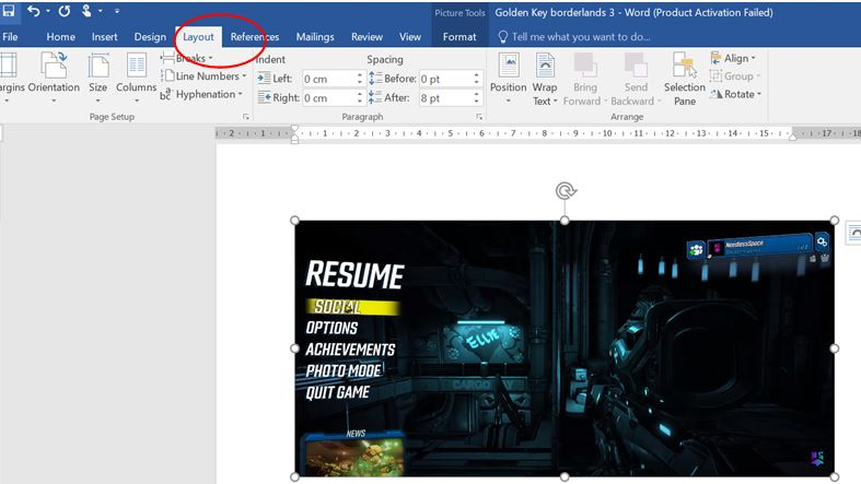 Layout option in word document