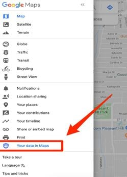 Your data in maps option