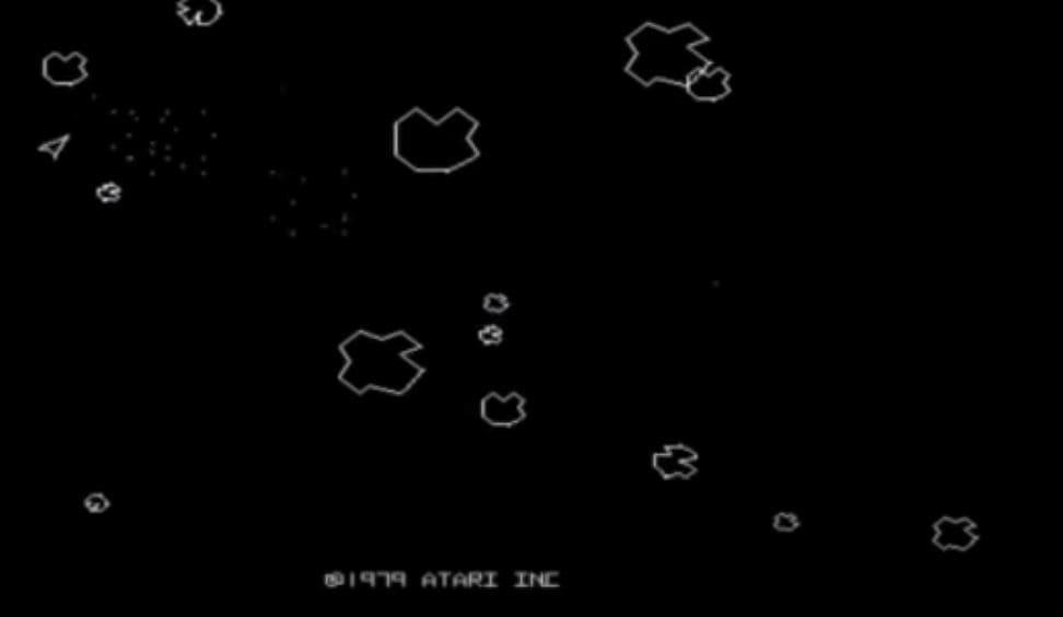 Asteroids arcade homebrew game on PSP