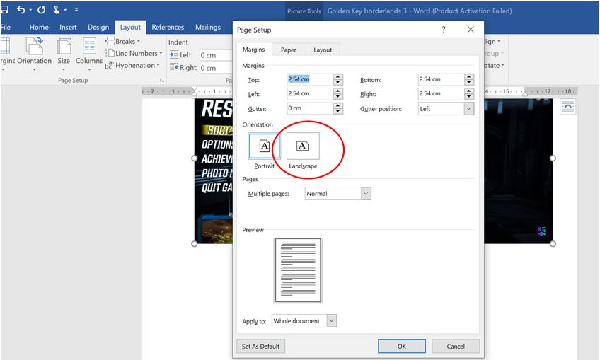 Landscape option in word