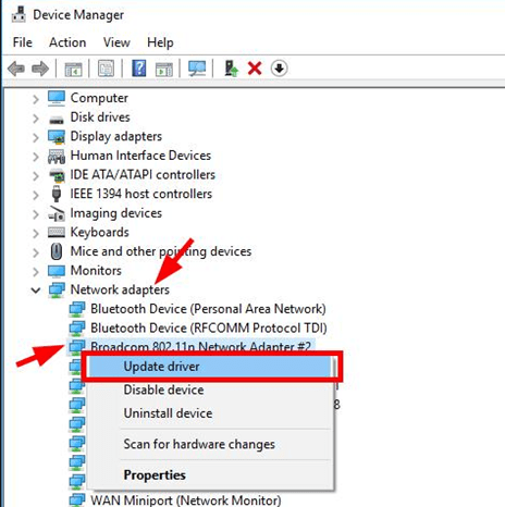 Check all network adapter and update drivers for windows device manager