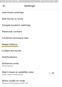 Maps History option