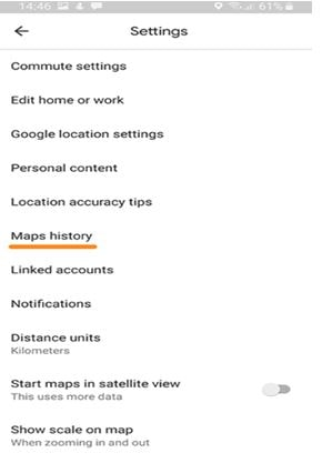 Maps History option