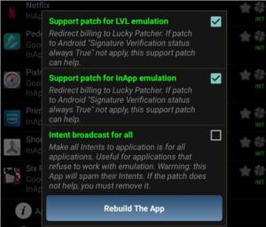 Rebuild the App option