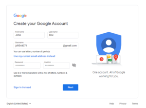 New google account page