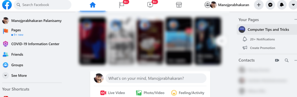 Open the Facebook homepage