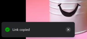 Video Links copied notification