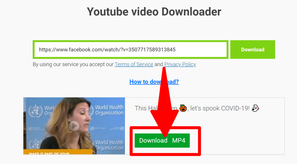 Click the Download MP4 button and save the Facebook shared video